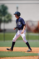 GCL Tigers East center fielder Kingston Liniak (15) leads off second base during a game against the GCL Tigers West on August 8, 2018 at Tigertown in Lakeland, Florida.  GCL Tigers East defeated GCL Tigers West 3-1.  (Mike Janes/Four Seam Images)