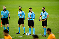 CARSON, CA - OCTOBER 28: Referee's Ramy Touchan, Cameron Blanchard, TJ Zablocki and Alejandro Mariscal during a game between Houston Dynamo and Los Angeles FC at Banc of California Stadium on October 28, 2020 in Carson, California.