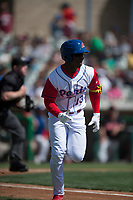 Stockton Ports left fielder Lazaro Armenteros (13) jogs down the first base line after hitting a home run during a California League game against the San Jose Giants on April 9, 2019 in Stockton, California. San Jose defeated Stockton 4-3. (Zachary Lucy/Four Seam Images)