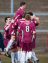 Alloa's Martin Grehan is congratulated after he scores their first goal.
