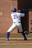Cameron Irvine (25) of the High Point Panthers at bat against the Bryant Bulldogs at Williard Stadium on February 21, 2021 in  Winston-Salem, North Carolina. The Panthers defeated the Bulldogs 3-2. (Brian Westerholt/Four Seam Images)