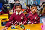 Milena Neesh Raju and Adel Basil Eldho enjoying their first day in junior infants in Moyderwell NS on Wednesday, l to r: Milena Neesh Raju and Adel Basil Eldho.