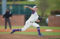 High Point Panthers relief pitcher Garrett Letchworth (7) in action against the Campbell Camels at Williard Stadium on March 16, 2019 in  Winston-Salem, North Carolina. The Camels defeated the Panthers 13-8. (Brian Westerholt/Four Seam Images)