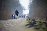 Paris-Roubaix 2013 RECON..Alex Dowsett (GBR) Trouée d'Arenberg reconnaissance..