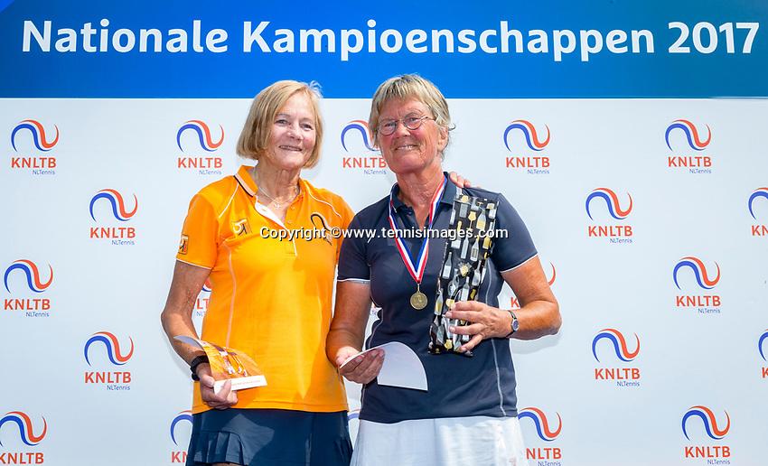 Etten-Leur, The Netherlands, August 26, 2017,  TC Etten, NVK, Winner Lady's 65+ Heleen Janssen-Prins (R) and runner up Anneke Jelsma-de Jong.<br /> Photo: Tennisimages/Henk Koster