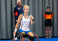 Amstelveen, Netherlands, 22 Augustus, 2020, National Tennis Center, NTC, NKR, National  Wheelchair Tennis Championships, Womans single final : Dide de Groot (NED)   jubilates her win overMarjolein Buis (NED)<br /> Photo: Henk Koster/tennisimages.com