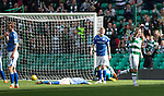 Celtic v St Johnstone...29.08.15  SPFL   Celtic Park<br /> Leigh Griffiths celebrates his goal as a dejected David Wotherspoon lies flat out<br /> Picture by Graeme Hart.<br /> Copyright Perthshire Picture Agency<br /> Tel: 01738 623350  Mobile: 07990 594431