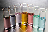 TRANSITION METAL SOLUTIONS-CHARACTERISTIC COLORS<br /> Colors Caused By Nature of the Metal Ion (Variations Available)<br /> The color results from the transition of electrons between the two closely spaced d orbitals. (l-r): Ti3+ (pink/purple), Cr3+ (blue/purple), Mn2 (pale pink), Fe (yellow), Co2 (rose), Ni2 (green), Cu2 (blue/turquoise)