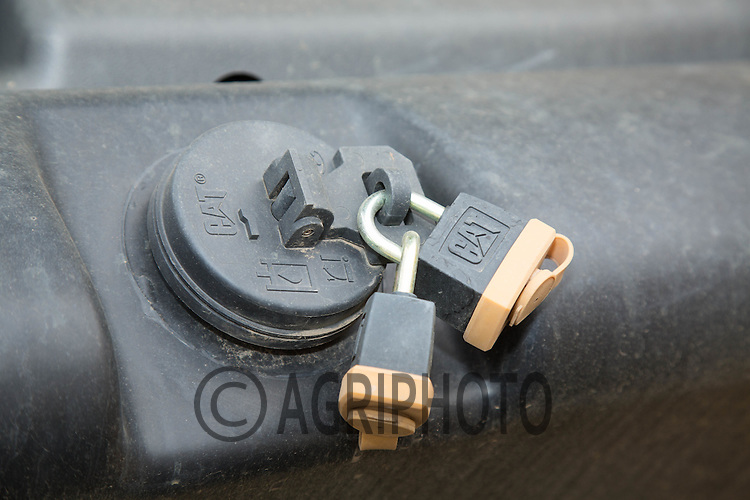 Padlocks on a fuel tank<br /> ©Tim Scrivener Photographer 07850 303986<br /> ....Covering Agriculture In The UK....