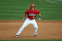 Auburn Doubledays shortstop Ian Sagdal (8) leads off first  during a game against the Batavia Muckdogs on September 7, 2015 at Falcon Park in Auburn, New York.  Auburn defeated Batavia 11-10 in ten innings.  (Mike Janes/Four Seam Images)