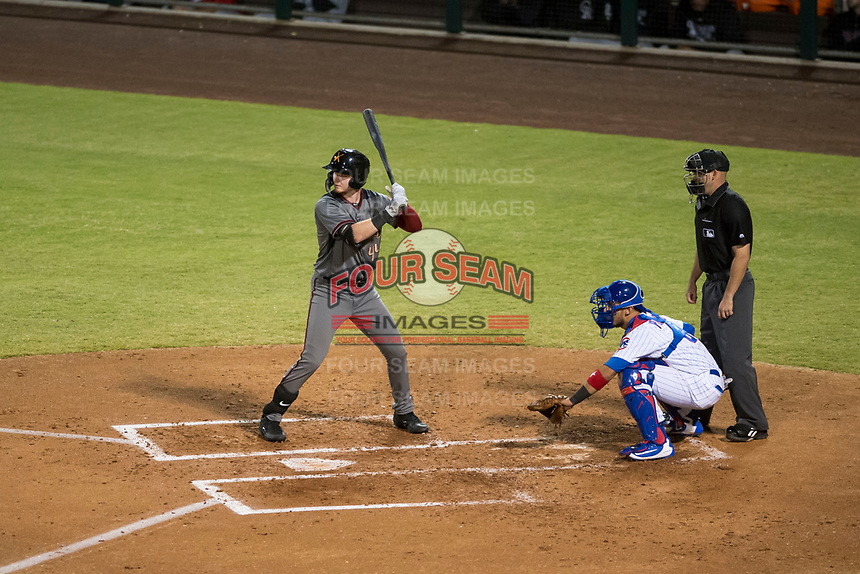 Salt River Rafters first baseman Pavin Smith (44), of the Arizona Diamondbacks organization, at bat in front of catcher Jhonny Pereda (6) and home plate umpire Dan Merzel during an Arizona Fall League game against the Mesa Solar Sox at Sloan Park on October 16, 2018 in Mesa, Arizona. Salt River defeated Mesa 2-1. (Zachary Lucy/Four Seam Images)