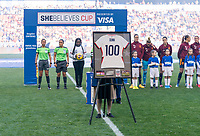 HARRISON, NJ - MARCH 08: The jersey of Crystal Dunn #19 of the United States stands on the field during a game between Spain and USWNT at Red Bull Arena on March 08, 2020 in Harrison, New Jersey.