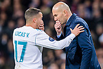 Manager Zinedine Zidane of Real Madrid (R) gives instructions to Lucas Vazquez of Real Madrid (L) during the UEFA Champions League 2017-18 quarter-finals (2nd leg) match between Real Madrid and Juventus at Estadio Santiago Bernabeu on 11 April 2018 in Madrid, Spain. Photo by Diego Souto / Power Sport Images
