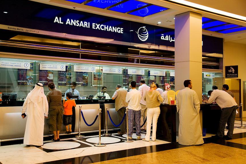 Dubai.  Money exchange bureau at the Mall of the Emirates...