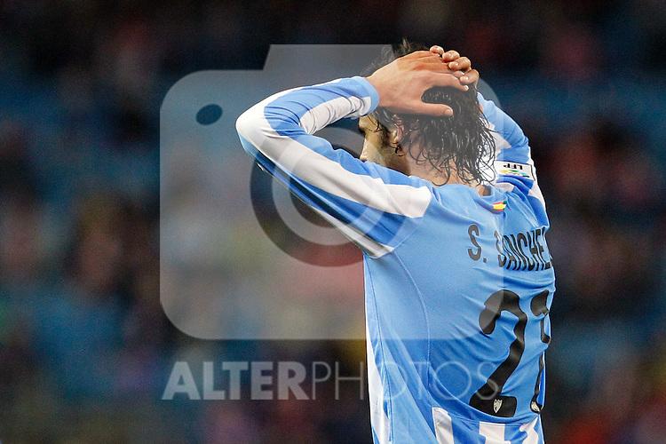 Malaga's Sergio Sanchez dejected during La Liga match. Mayo 5,2012. (ALTERPHOTOS/Arnedo & Alconada)