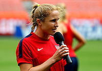 WASHINGTON D.C. - September 02, 2013:<br /> Rachel Buehler talks to the fans During a USA WNT open practice at RFK Stadium, in Washington D.C. the day before the USA v Mexico international friendly match.