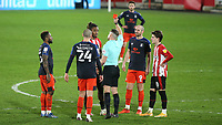 Ivan Toney of Brentford is shown a red card during Brentford vs Luton Town, Sky Bet EFL Championship Football at the Brentford Community Stadium on 20th January 2021