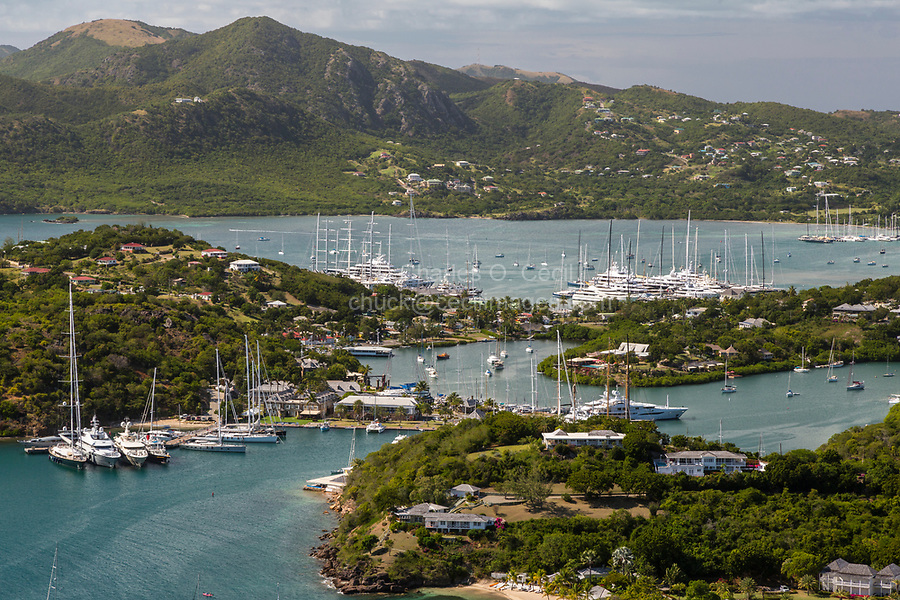 Antigua.  View from Shirley Heights, Looking over Freeman's Bay toward Nelson's Dockyard, mid-center.