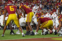 LOS ANGELES, CA - SEPTEMBER 11: Tanner McKee #18 of the Stanford Cardinal prepares for a goal-line snap during a game between University of Southern California and Stanford Football at Los Angeles Memorial Coliseum on September 11, 2021 in Los Angeles, California.