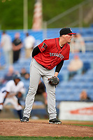 Erie SeaWolves Kyle Funkhouser (36) looks in for the sign during a game against the Binghamton Rumble Ponies on May 14, 2018 at NYSEG Stadium in Binghamton, New York.  Binghamton defeated Erie 6-5.  (Mike Janes/Four Seam Images)