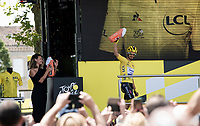 yellow jersey / GC leader Julian Alaphilippe (FRA/Deceuninck - Quick-Step) at the race start in Albi<br /> <br /> Stage 11: Albi to Toulouse (167km)<br /> 106th Tour de France 2019 (2.UWT)<br /> <br /> ©kramon
