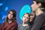 MADRID, SPAIN - DECEMBER 06: Swedish environment activist Greta Thunberg attends the press conference in Madrid because the  COP25 Climate Conference on December 06, 2019 in Madrid, Spain. <br /> (ALTERPHOTOS/David Jar)