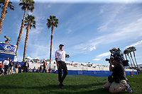 Bill Haas winner of The 2010 Bob Hope Classic returns to the 18th green for the award ceremonies. He birdied teh 18th green to win by one stroke over Mat Kuchar and Tim Clark.