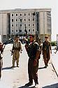 Iraq 1996  Peshmergas in front the Kurdish Parliament  in Erbil after 31 August when the Iraqi army occupied the city<br /> Irak 1996 Peshmergas devant le parlement d'Erbil aprés le 31 aout quand l'armée irakienne  occupait la ville