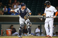 Peoria Javelinas Nick Ciuffo (13), of the Tampa Bay Rays organization, throws the ball back to the pitcher behind hitter Yefri Perez (1) during a game against the Mesa Solar Sox on October 15, 2016 at Sloan Park in Mesa, Arizona.  Peoria defeated Mesa 12-2.  (Mike Janes/Four Seam Images)