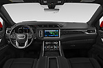Stock photo of straight dashboard view of 2021 GMC Yukon-Denali - 5 Door SUV Dashboard
