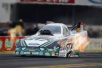 Nov. 8, 2012; Pomona, CA, USA: NHRA funny car driver Mike Neff during qualifying for the Auto Club Finals at at Auto Club Raceway at Pomona. Mandatory Credit: Mark J. Rebilas-