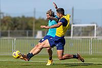 BRADENTON, FL - JANUARY 22: Cade Cowell, Mauricio Pineda battle for a ball during a training session at IMG Academy on January 22, 2021 in Bradenton, Florida.