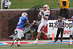 Rutgers Scarlet Knights tight end Tyler Kroft (86) and Southern Methodist Mustangs defensive back Jay Scott (8) in action during the game between the Rutgers Scarlet Knights and the SMU Mustangs at the Gerald J. Ford Stadium in Dallas, Texas.  Rutgers leads SMU 21 to 7 at halftime.