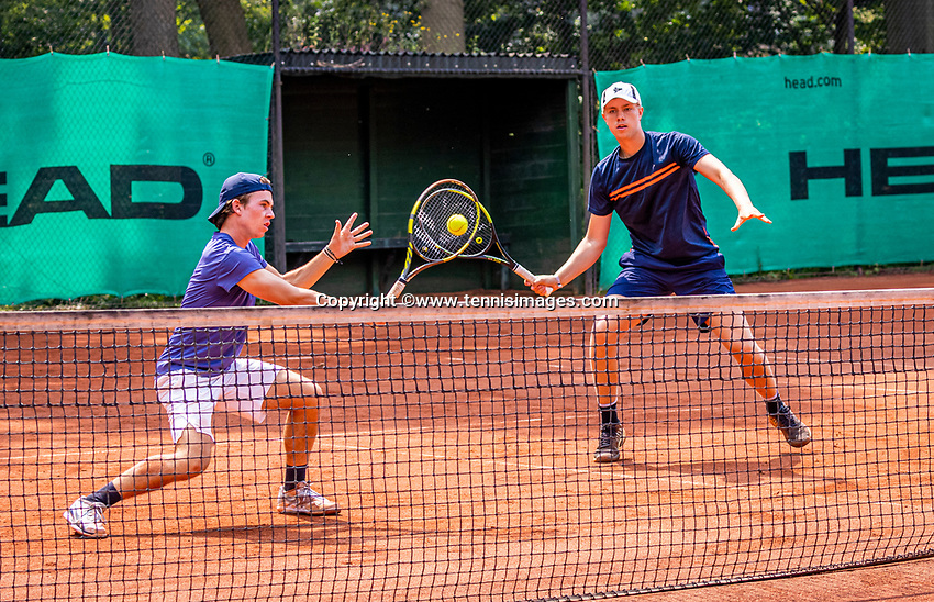 Hilversum, Netherlands, August 5, 2021, Tulip Tennis center, National Junior Tennis Championships 16 and 18 years, NJK, Boys Doubles 18 years, Sverre Bakker (NED) (L) and Teun Mantel (NED)<br /> Photo: Tennisimages/Henk Koster