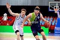 10-04-2021: Basketbal: Donar Groningen v ZZ Leiden: Groningen, Leiden speler Michael Finke in duel met Donar speler Thomas Koenis