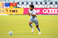 KANSAS CITY, UNITED STATES - AUGUST 25: Jaylin Lindsey #26 of Sporting Kansas City runs with the ball  a game between Houston Dynamo and Sporting Kansas City at Children's Mercy Park on August 25, 2020 in Kansas City, Kansas.