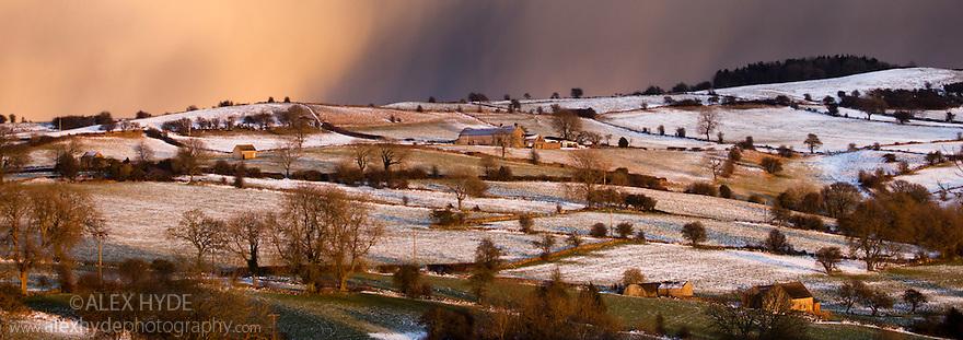Snow storm over Masson Hill, Bonsall, Peak District, Derbyshire, UK. February.