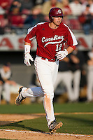 Justin Smoak (12) of the South Carolina Gamecocks heads to first base after being walked by the East Carolina Pirates at Sarge Frye Field in Columbia, SC, Sunday, February 24, 2008.