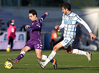 Football Soccer: Tim Cup Round of 16 Fiorentina - FC Internazionale Milano, Artemio Franchi  stadium, Florence, January 13, 2021. <br /> Fiorentina's Giacomo Bonaventura (l) in action with Inter's  Andrea Ranocchia (r) during the Italian Tim Cup football match between Fiorentina and Inter at Florence's Artemio Franchi stadium, on January 13, 2021.  <br /> UPDATE IMAGES PRESS/Isabella Bonotto