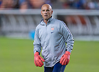 HOUSTON, TX - FEBRUARY 03: Philip Poole of the United States warms up the goalkeepers during a game between Costa Rica and USWNT at BBVA Stadium on February 03, 2020 in Houston, Texas.