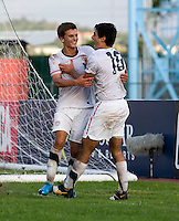 Alejandro Guido (10)  of the United States celebrates the goal of teammate Marc Pelosi (10) during the quarterfinals of the CONCACAF Men's Under 17 Championship at Catherine Hall Stadium in Montego Bay, Jamaica. The USA defeated El Salvador, 3-2, in overtime.