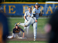 Lakewood Spartans shortstop Bo Bichette (19) throws home as Jake Dolcater (16) slides into second during a game against the Boca Ciega Pirates at Boca Ciega High School on March 2, 2016 in St. Petersburg, Florida.  Boca Ciega defeated Lakewood 2-1.  (Mike Janes/Four Seam Images)