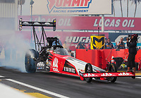 Feb 21, 2020; Chandler, Arizona, USA; NHRA top fuel driver Doug Kalitta during qualifying for the Arizona Nationals at Wild Horse Pass Motorsports Park. Mandatory Credit: Mark J. Rebilas-USA TODAY Sports