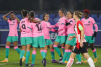 Barcelona players celebrate their team's win during a female soccer game between PSV Eindhoven Vrouwen and Barcelona, in the round of 32, 1st leg of Uefa Womens Champions League of the 2020 - 2021 season , Wednesday 9th of December 2020  in , Eindhoven, the Netherlands. PHOTO SPORTPIX.BE | SPP | SEVIL OKTEM