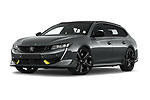 Stock pictures of low aggressive front three quarter view of 2021 Peugeot 508-SW PSE-PHEV 5 Door Wagon Low Aggressive