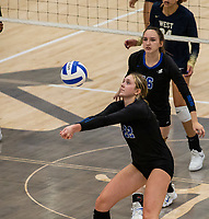Abby Harris (22) of Rogers bumps ball against Bentonville West at Rogers High School, Rogers, AR, on Thursday, September 9, 2021 / Special to NWADG David Beach