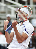 BOGOTA – COLOMBIA – 19-07-2014: Ivo Karlovic de Croacia, celebra despues de vencer a Radek Stepanek de Republica Checa, durante partido de las semifinales del Open Claro Colombia de tenis ATP 250, que se realiza en las canchas del Centro de Alto Rendimiento en Altura en ciudad de Bogota. / Ivo Karlovic of Croatia,  celebrates after defeating Radek Stepanek of Czech Republic, during a match for the semifinals of the Open Claro Colombia de tenis ATP 250, at Centro de Alto Rendimiento en Altura in Bogota City. Photo: VizzorImage / Luis Ramirez / Staff.