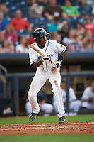 Akron RubberDucks center fielder Greg Allen (4) squares to bunt during a game against the Richmond Flying Squirrels on July 26, 2016 at Canal Park in Akron, Ohio .  Richmond defeated Akron 10-4.  (Mike Janes/Four Seam Images)