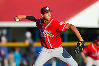 Danville Braves starting pitcher Alec Grosser (24) delivers a pitch to the plate against the Burlington Royals at Burlington Athletic Park on July 5, 2014 in Burlington, North Carolina.  The Royals defeated the Braves 5-4.  (Brian Westerholt/Four Seam Images)