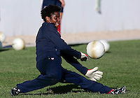 USA´s Briana Scurry in action at the Montechoro Hotel soccer fields in Montechoro, March 11 of 2007, during the Algarve Women´s Cup.